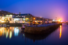 Falmouth Harbour Night. Custom House quay harbour Falmouth at Dusk on a foggy evening. Cornwall England UK Europe stock images
