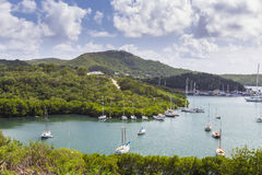 Falmouth harbour. View from Shirely Heights, Antigua, West Indie Royalty Free Stock Images