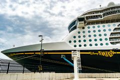 Falmouth, Jamaica - June 03 2015: Disney Fantasy cruise ship docked at the Falmouth Cruise Port in Jamaica. Disney Fantasy cruise ship docked at the Falmouth royalty free stock image