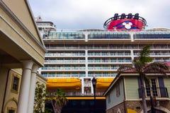 Falmouth, Jamaica - May 02, 2018: Cruise ship Disney Fantasy by Disney Cruise Line docked in Falmouth, Jamaica. On May 02, 2018 royalty free stock image