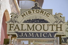 Falmouth Jamaica sign. A sign for Historic Falmouth Jamaica on the dock Stock Image