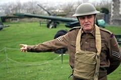 Falmouth, les Cornouailles, R-U - 12 avril 2018 : Robe militaire d'historien photo stock