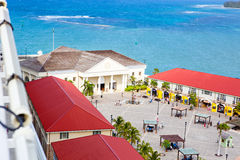 Falmouth port in Jamaica island, the Caribbeans. With old houses and duty free zone. From above, picture from cruise ship liner Stock Images