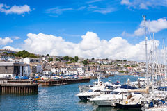Falmouth Town and Harbour Marina From Afar Royalty Free Stock Images
