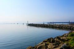 Falochron na Adriatic morzu Goro portu widok Zdjęcia Royalty Free