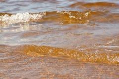Falowa morze plaża na odgórnym widoku Obrazy Royalty Free