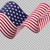 Falowanie flaga amerykańska na przejrzystym tle ilustracja wektor