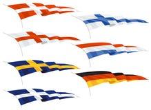 Falowanie flaga banderki lub Fotografia Royalty Free