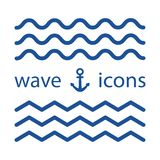 Falowe błękitne ikony również zwrócić corel ilustracji wektora ilustracji