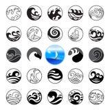 Falowe ikony ustawiać Wodny symbolu lub loga projekt Ocean, morze, plaża Zdjęcia Stock