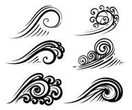 Falowe inkasowe oceanu, morza fala lub, ustawiają fryzowanie wody projekta elementy ilustracyjnych na bielu Fotografia Royalty Free