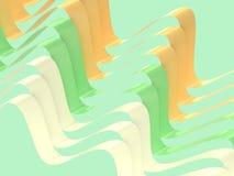 Falowego kształta 3d tła abstrakcjonistycznej zieleni żółty biel ilustracja wektor