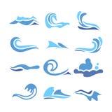 Falowej Wodnej ikony Ustalony wektor Bieżącej wody elementy button ręce s push odizolowana początku ilustracyjna kobieta Obraz Stock