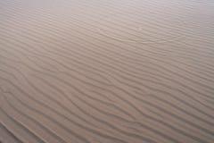 Falowi wzory na piasku w płytkiej wodzie na plaży w zimie Obrazy Royalty Free