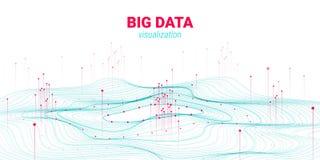 Falowy 3D dane Duży unaocznienie Analiza Infographic ilustracja wektor