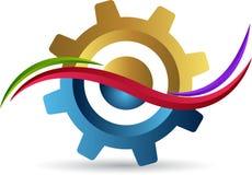 Falowy przekładnia logo ilustracja wektor