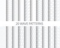 20 falowych wzorów ilustracja wektor