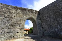 Sortelha – False Gate. The Falsa False Gate has a slightly pointed arch that is notched on the outside and a round vault, in the medieval walled town of Royalty Free Stock Photography