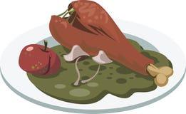 Falsche Nahrung Platte mit faulem Huhn-` s Bein, Apfel und Pilzen Stockfotos