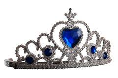 Falsche Tiara mit Diamanten und blauem Edelstein Stockfoto
