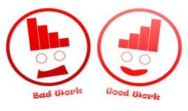 Falsche und gute Arbeits-Ikonen Stockfoto