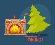 Falsche Weihnachtsbaum-Kamin-Vektor-Illustration Lizenzfreie Stockfotos