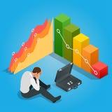 Falscher Geschäftsmann Deprimierter Geschäftsmann Leaning His Head unterhalb eines schlechten Börse-Diagramms Lizenzfreies Stockfoto
