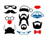 Falscher Schnurrbart, lustige Gläser und andere Einzelteile für stock abbildung