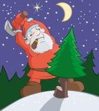 Falscher Weihnachtsmann ist Ausschnitt eines Pelzbaums mit Axt Lizenzfreie Stockfotografie