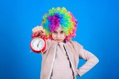 False alarm. Girl worry about time. Time to have fun. Discipline and time concept. Circus performance timing. Kid royalty free stock images