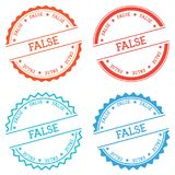 FALSE badge isolated on white background. Flat style round label with text. Circular emblem vector illustration Stock Photography