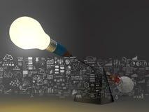 False balance of pencil lightbulb Stock Photo