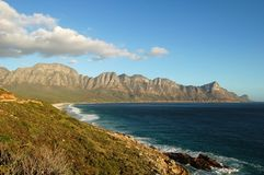 False Bay, South Africa. The coast and mountains of False Bay, Cape peninsula, South Africa Stock Images
