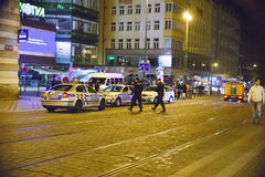 False bomb attack in Prague. Prague, Czech Republic: A false bomb attack has been announced in shopping hall Kotva in Prague in early hours on August 12, 2012 royalty free stock photography