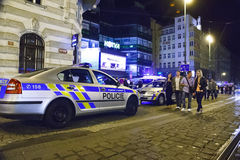 False bomb attack in Prague. Prague, Czech Republic: A false bomb attack has been announced in shopping hall Kotva in Prague in early hours on August 12, 2012 royalty free stock photo