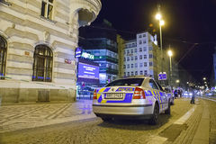 False bomb attack in Prague. Prague, Czech Republic: A false bomb attack has been announced in shopping hall Kotva in Prague in early hours on August 12, 2012 Stock Images
