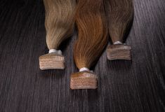 False colored hair. Hair for hair extension. Stock Image