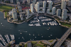False Creek Aerial. False Creek, Cambie Bridge, Marina, and Residential Buildings viewed from an aerial perspective in Downtown Vancouver, British Columbia stock images
