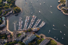 False Creek Aerial. Aerial view on the marina in False Creek, Downtown Vancouver, British Columbia, Canada stock images