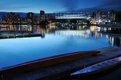 False Creek and BC Stadium at night Royalty Free Stock Images