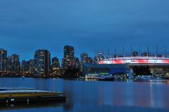 False Creek and BC Stadium at night Royalty Free Stock Image