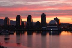 False Creek Condominiums First Light, Vancouver Stock Photo