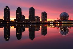 False Creek, Dawn Skyline, Vancouver Stock Image