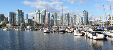 False Creek marina & the Vancouver skyline Royalty Free Stock Image