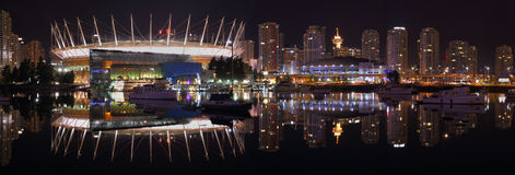 False Creek Night Panorama, Vancouver Stock Image