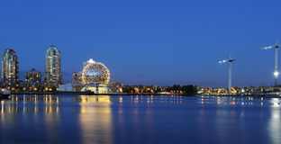False creek night scene with science world globe Royalty Free Stock Image