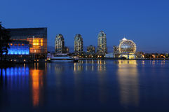 False Creek Night Scene With Science World Globe Stock Photography