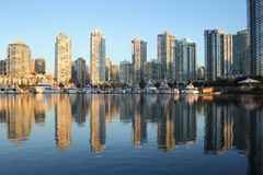 False Creek, Reflections, Condos, Marina, Vancouve Stock Photo