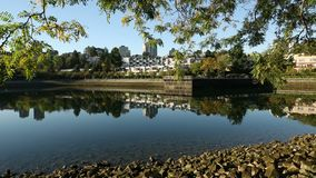 False Creek Reflections, South Side, Vancouver. Condominiums, in the Fairview neighbourhood of Vancouver, reflect in the still water of False Creek. British stock video footage