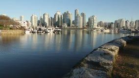 False Creek Seawall Morning, Vancouver stock video footage